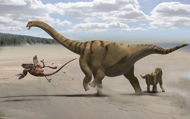 Brontomerus kicking Utahraptor / Wikimedia Commons